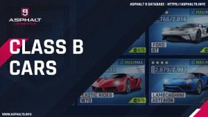 asphalt 9 class b cars