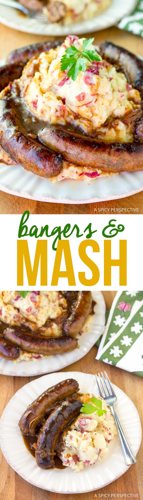 Rustic Bangers and Mash Recipe #saintpatricksday