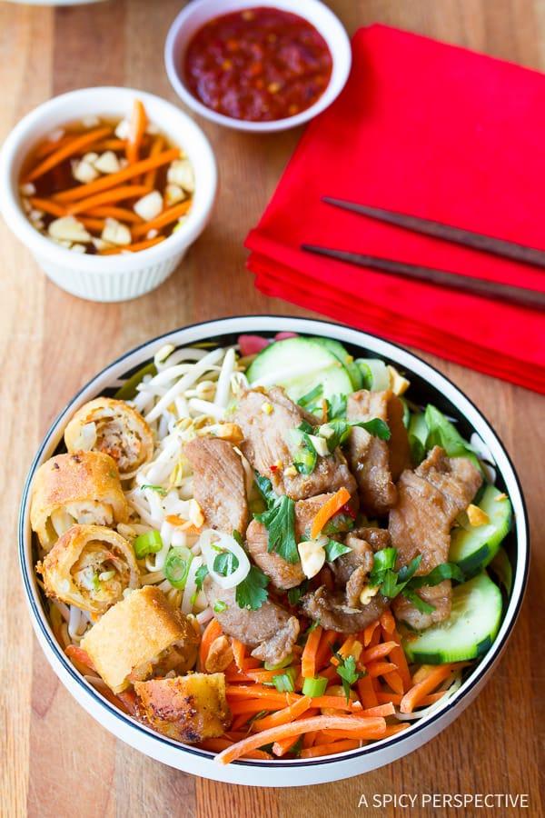 Vietnamese Bun Cha #ASpicyPerspective #BunCha #ChaGio #BunChaGio #BunChaRecipe #Vietnamese #SaladBowl