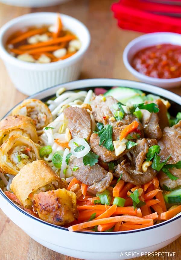 Vietnamese Bun Cha Gio #ASpicyPerspective #BunCha #ChaGio #BunChaGio #BunChaRecipe #Vietnamese #SaladBowl