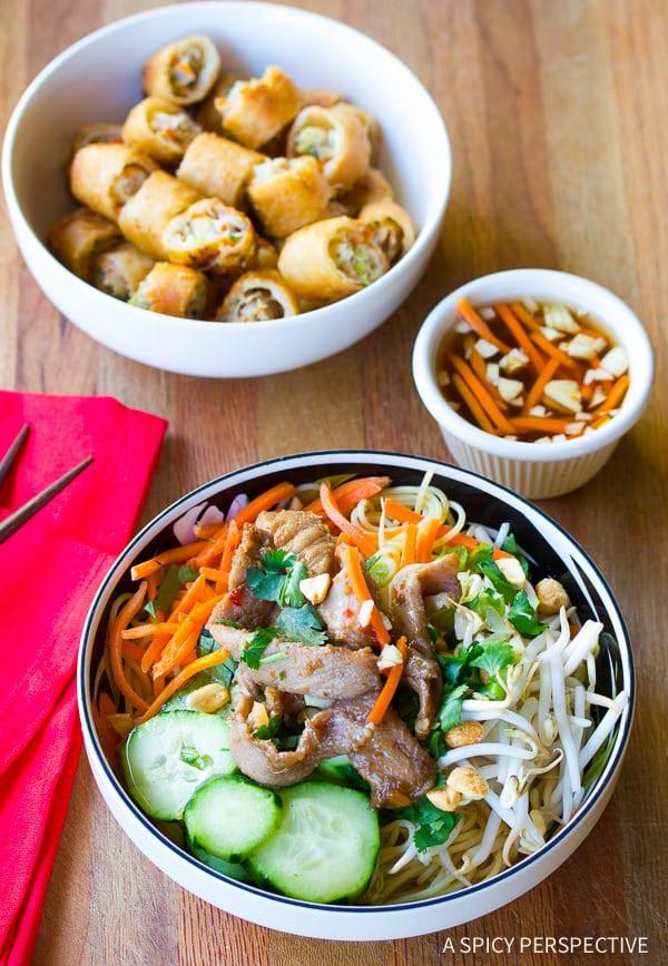 Vietnamese Salad Bowl #ASpicyPerspective #BunCha #ChaGio #BunChaGio #BunChaRecipe #Vietnamese #SaladBowl