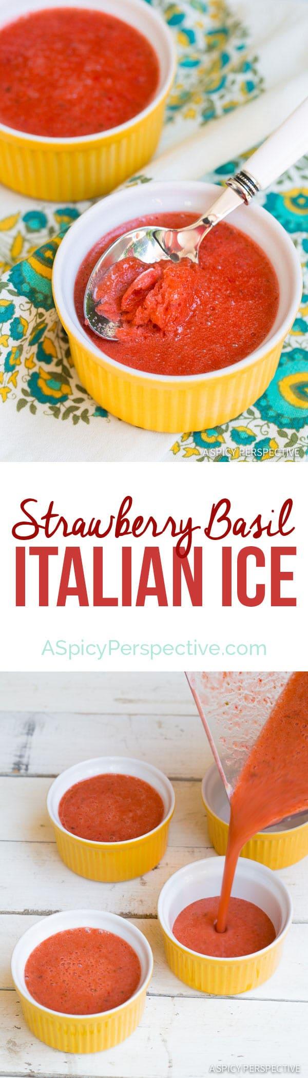 The Best Strawberry Basil Italian Ice on ASpicyPerspective.com