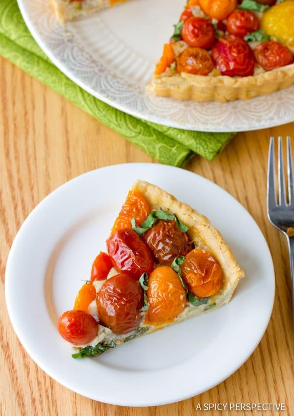 Simple Fresh Tomato Tart Recipe   ASpicyPerspective.com