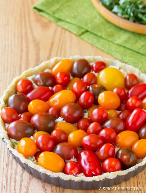 Easy Fresh Tomato Tart Recipe   ASpicyPerspective.com