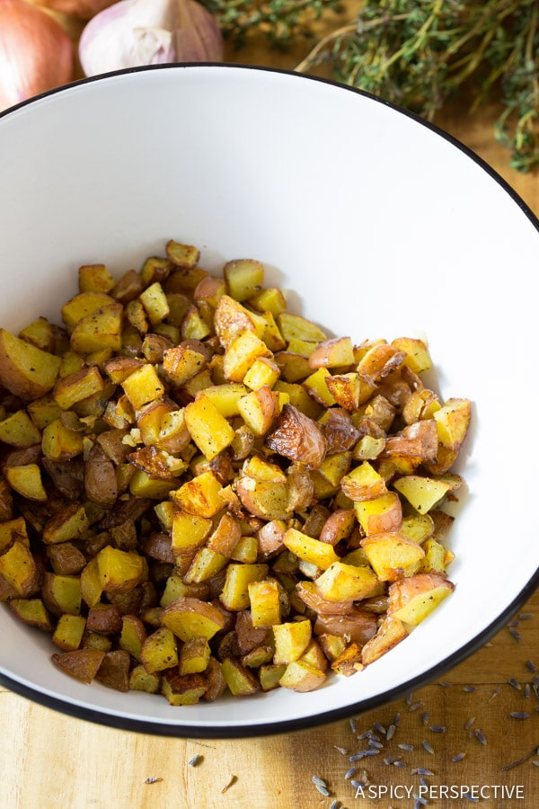 How to Make Provincial Style French Red Potato Salad Recipe on ASpicyPerspective.com