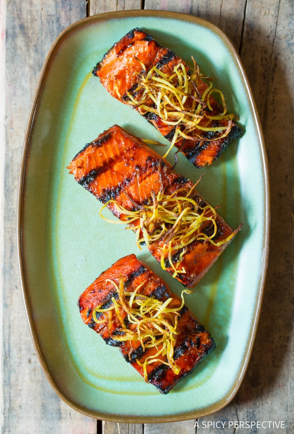 Make Tonight - Candied Smoked Salmon Recipe with Flash Fried Ginger on ASpicyPerspective.com #salmon