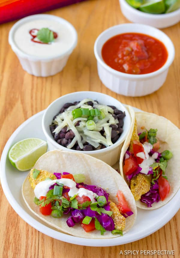 Fabulous Corn Crusted Fish Tacos with Jalapeno Lime Sauce | ASpicyPerspective.com