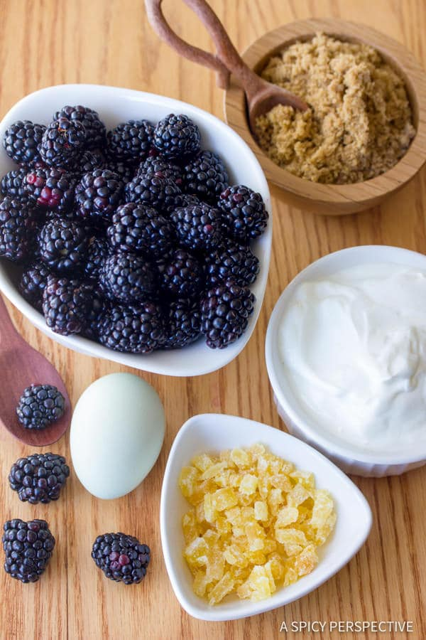 Making Ginger Wheat Blackberry Muffins | ASpicyPerspective.com