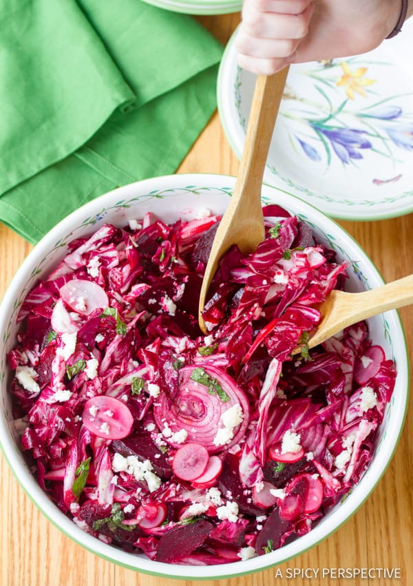 Crunchy Roasted Beet and Radicchio Salad | ASpicyPerspective.com