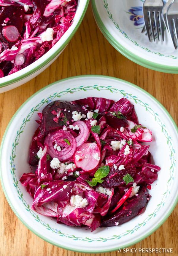 Brilliant Roasted Beet and Radicchio Salad | ASpicyPerspective.com