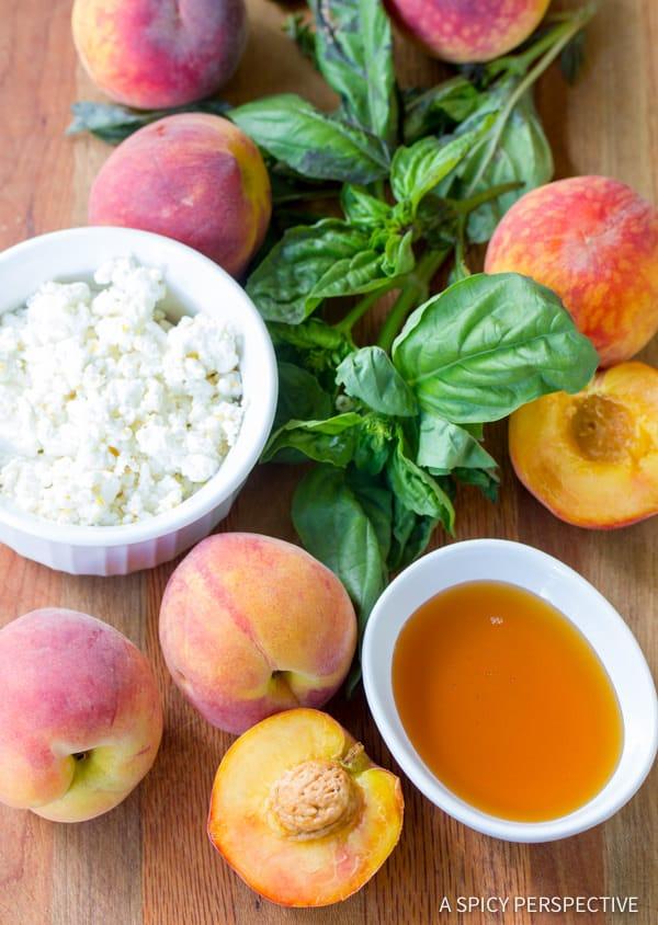 Ingredients  #Peach #PeachSalad #PeachSaladRecipe #FreshPeachSalad #Fresh #Honey #Basil #GoatCheese #Summer #SummerProduce