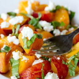 Fresh Peach and Basil Salad | ASpicyPerspective.com