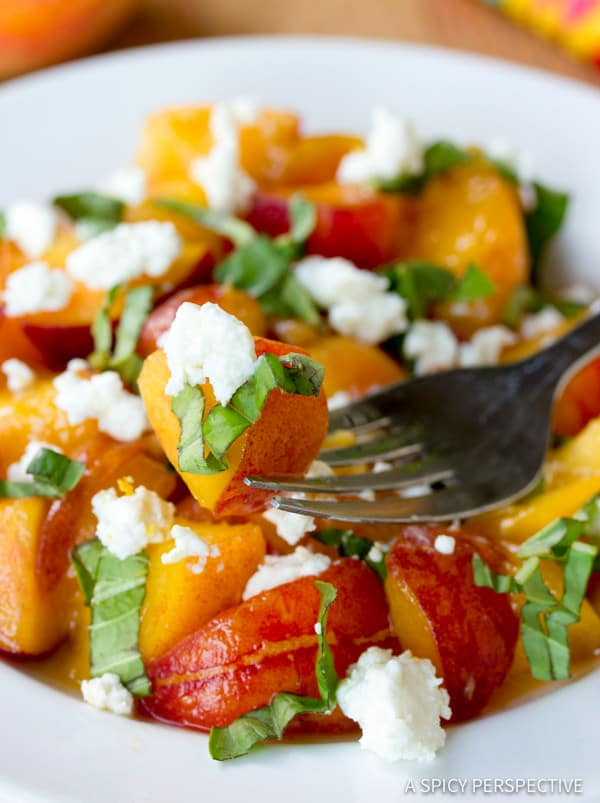 Fresh Peach Salad Recipe with Basil