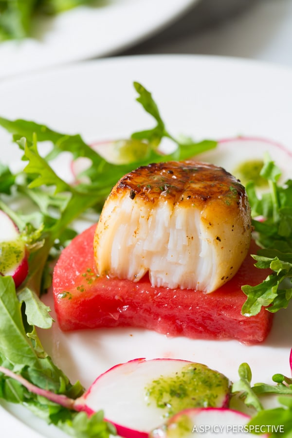 The Best Seared Scallops on Watermelon Salad with Sparkling Mint Vinaigrette - ASpicyPerspective.com