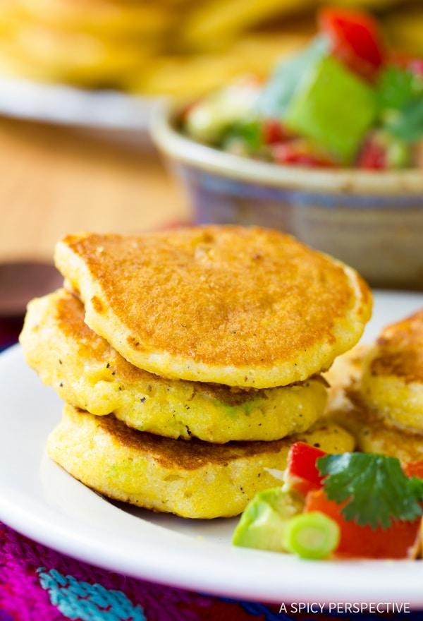 Spicy Jalapeno Corn Cakes with Avocado Salsa | ASpicyPerspective.com