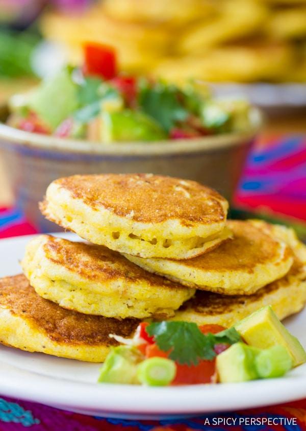 Jalapeno Corn Cakes with Avocado Salsa | ASpicyPerspective.com