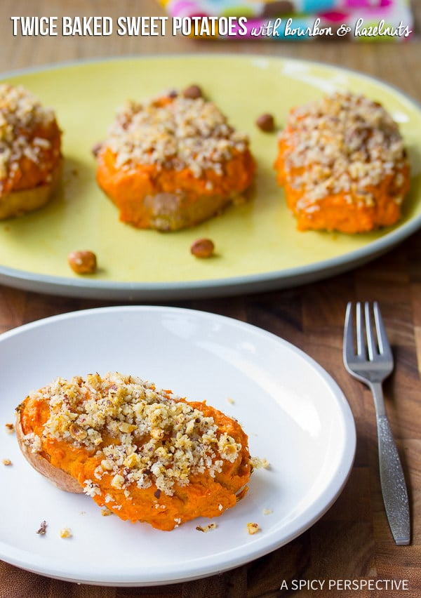 Creamy Boozy Twice Baked Sweet Potatoes with Bourbon and Hazelnuts on ASpicyPerspective.com #thanksgiving