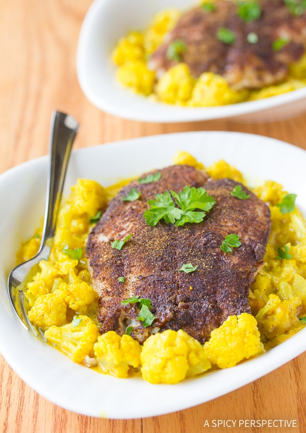 Simple Roasted Indian Fish and Creamy Curried Cauliflower Recipe