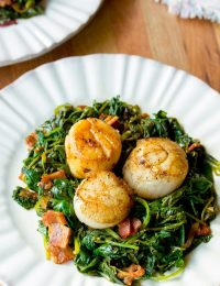 Seared Scallops with Wilted Greens | ASpicyPerspective.com