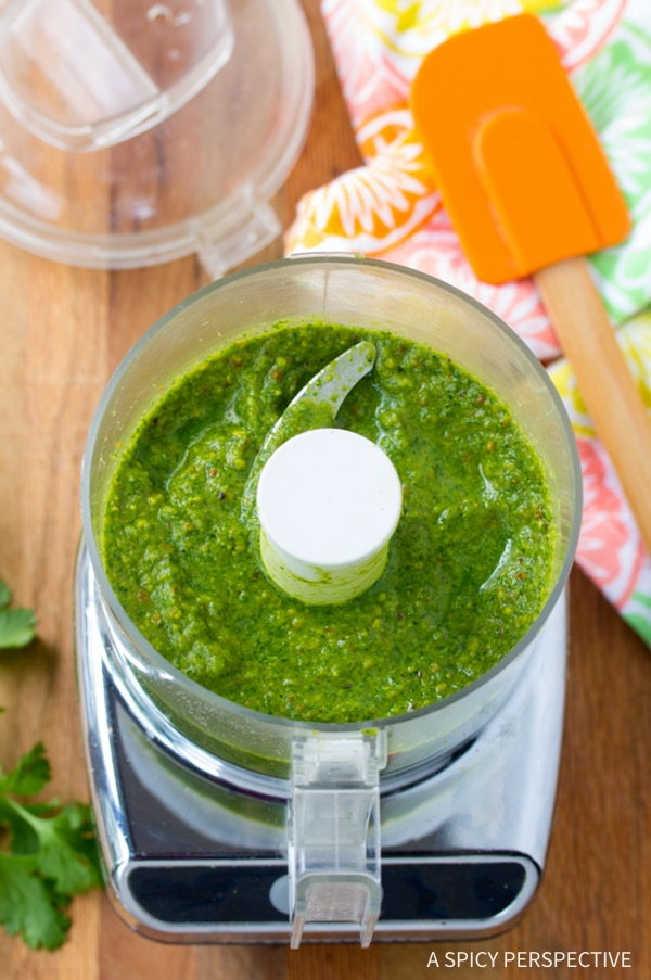 Making Zucchini and Green Chutney Salad