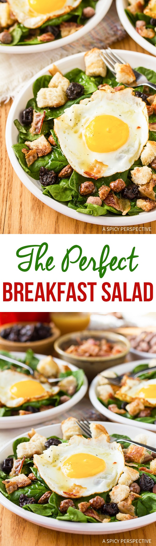 The Breakfast Salad Recipe with Cinnamon Toast Croutons and Maple Vinaigrette