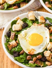 The Breakfast Salad with Cinnamon Toast Croutons and Maple Vinaigrette