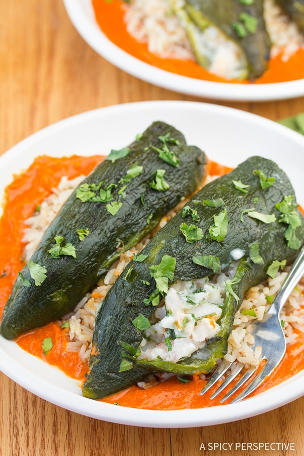 Zesty Stuffed Poblano Peppers with Red Pepper Puree Recipe