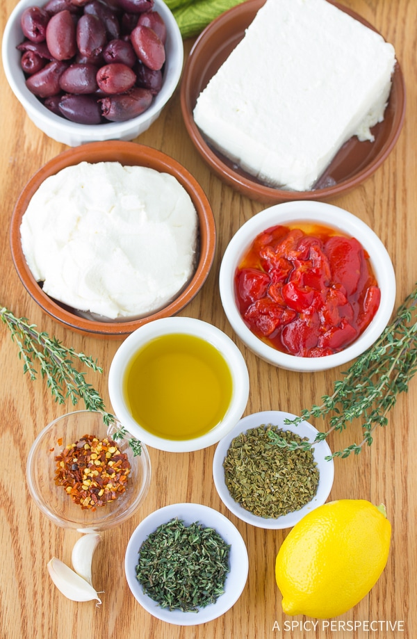 Making Spicy Feta Dip with Roasted Red Peppers Recipe