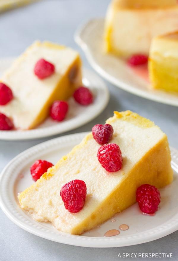 Smooth Yogurt Cheesecake with Orange Shortbread Crust and Chambord Honey Drizzle Recipe