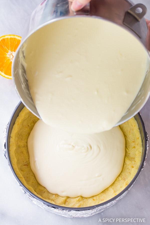 Easy Yogurt Cheesecake with Orange Shortbread Crust and Chambord Honey Drizzle Recipe