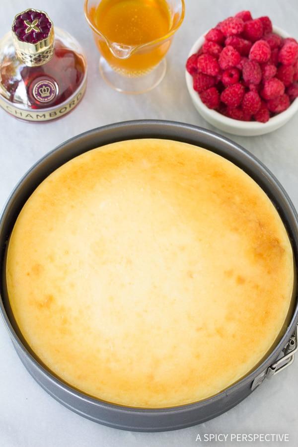 Simple Yogurt Cheesecake with Orange Shortbread Crust and Chambord Honey Drizzle Recipe