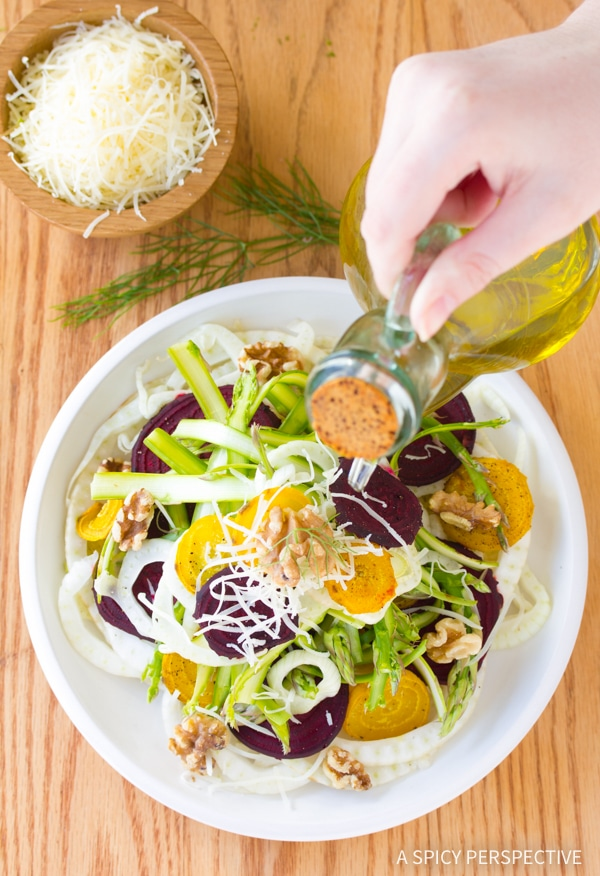 Crisp Fennel Salad with Roasted Beets and Shaved Asparagus Recipe