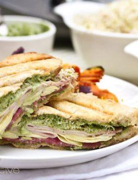 Panini Sandwich with Creamy Pesto Sauce