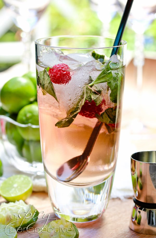 Fresh Basil Raspberry Mojitos