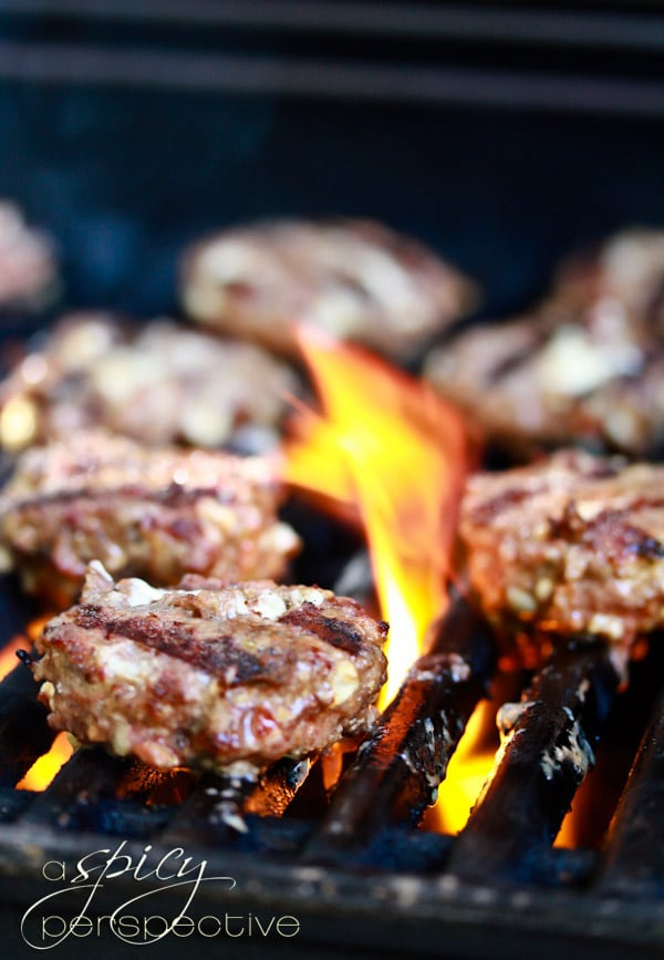 Grilled Andouille Blue Cheese Sliders Recipe