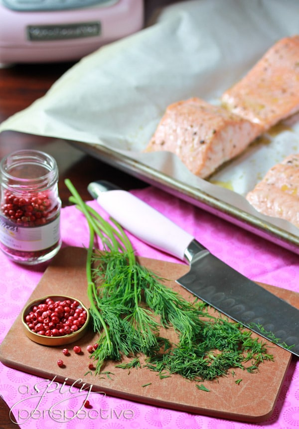 Pink Peppercorn #ASpicyPerspective #Salmon #RoastedSalmon #OvenRoastedSalmon #RoastedSalmonRecipe #PeppercornSauce #PinkPeppercorn #PinkPeppercornSauce #MothersDay