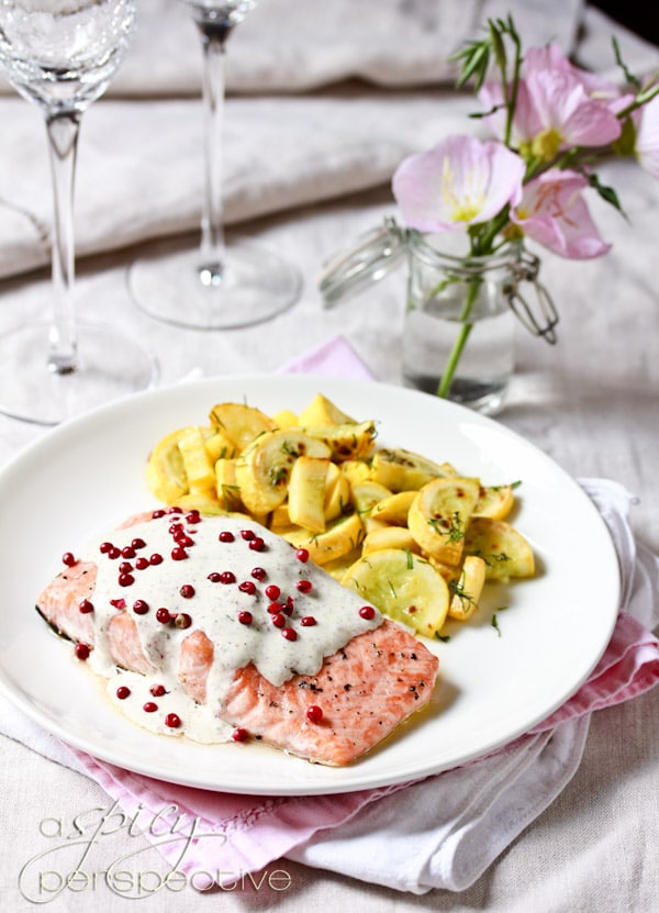 Roasted Salmon with Pink Peppercorn Sauce #ASpicyPerspective #Salmon #RoastedSalmon #OvenRoastedSalmon #RoastedSalmonRecipe #PeppercornSauce #PinkPeppercorn #PinkPeppercornSauce #MothersDay