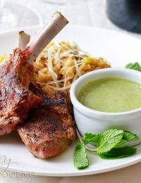 Moroccan Grilled Lamb Chops with Tahini Pesto