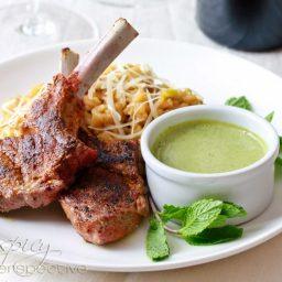 Moroccan Grilled Lamb Chops with Tahini Pesto
