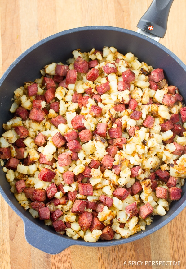 How to Make Corned Beef Hash #ASpicyPerspective #CornedBeefHash #CornedBeefHashRecipe #HorseradishCreamSauce #HorseradishSauce #HowtoMakeCornedBeefHash #FathersDay #Breakfast #FathersDayBreakfast