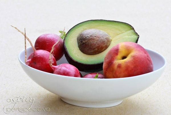 Avocado Dressing with Peaches and Radishes - ASpicyPerspective.com