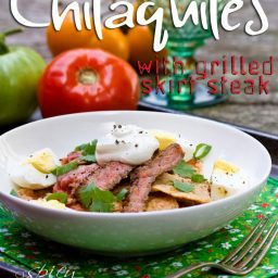 Mexican Chilaquiles Recipe with Marinated Skirt Steak | ASpicyPerspective.com