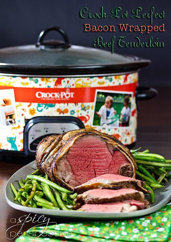 Crockpot Beef Tenderloin Recipe with Balsamic Glaze   ASpicyPerspective.com #holidays #crockpot #slowcooker #recipes