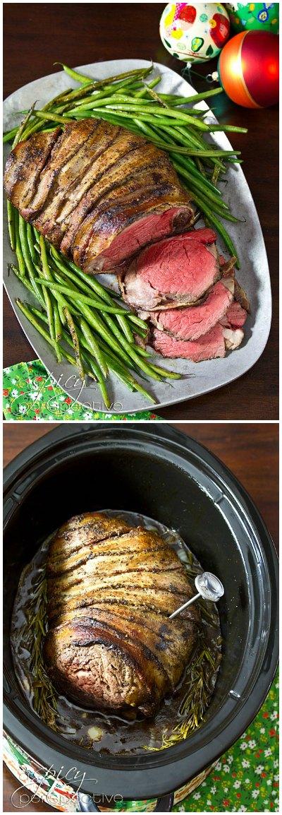 Slow Cooker Beef Tenderloin Recipe with Balsamic Glaze   ASpicyPerspective.com #holidays #crockpot #slowcooker #recipes