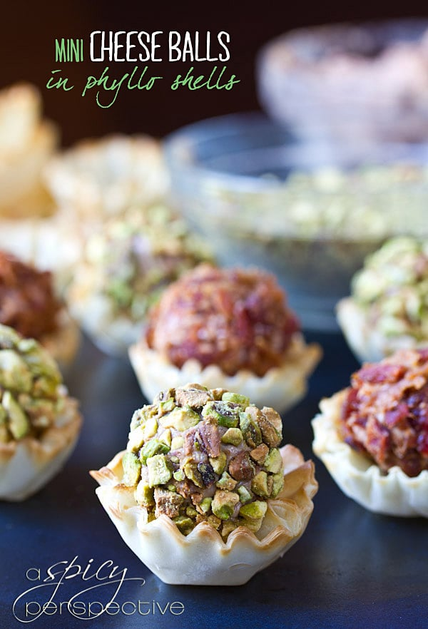 Mini Cheese Ball Recipe in Phyllo Shells | ASpicyPerspective.com #recipe #partyfood #appetizers