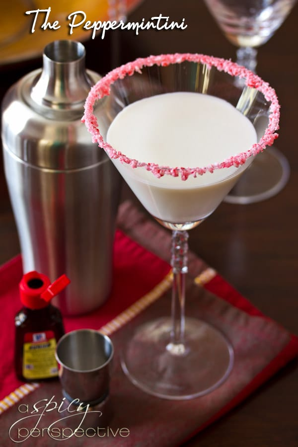 Peppermint Martini AKA The Peppermintini! | ASpicyPerspective.com #cocktails #holidays #christmas #recipe