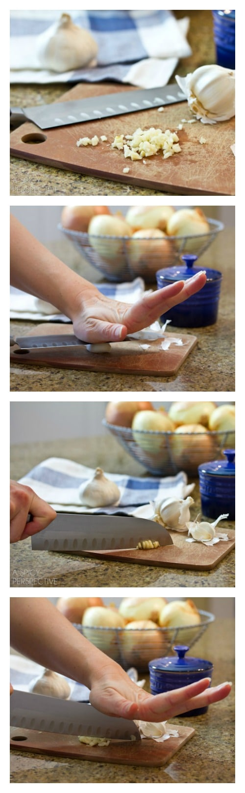 How to Peel and Mince Garlic on ASpicyPerspective.com #howto #garlic