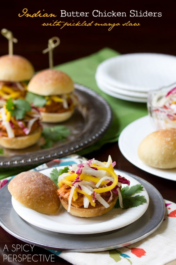 Indian Butter Chicken Sliders with Pickled Mango Slaw | ASpicyPerspective.com #sliders #appetizers #burgers #LandOLakes