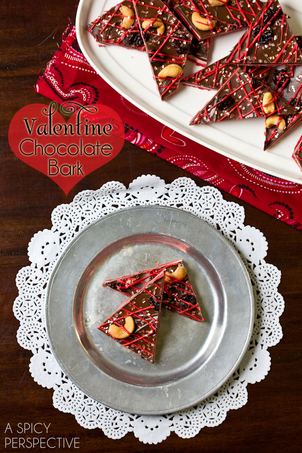 Easy Chocolate Bark Recipe for #ValentinesDay! via ASpicyPerspective.com #ediblegifts #chocolatebark