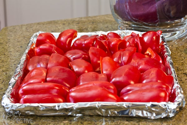 Roasting Red Peppers | ASpicyPerspective.com #howto #diy #redpeppers